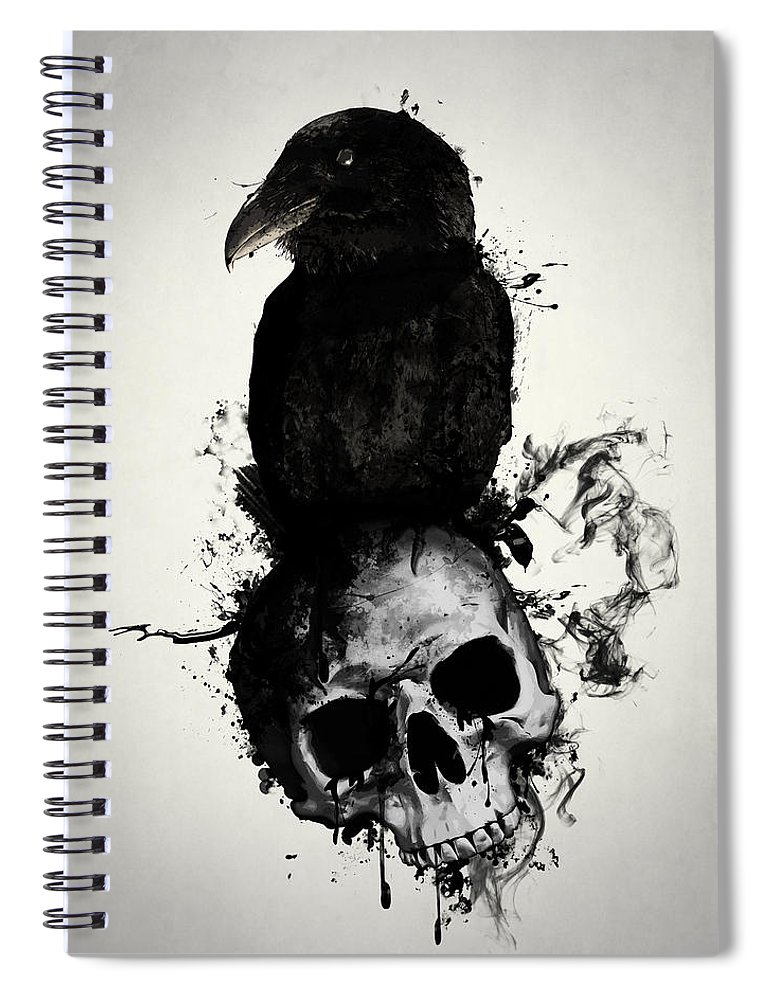 Raven Spiral Notebook featuring the mixed media Raven and Skull by Nicklas Gustafsson