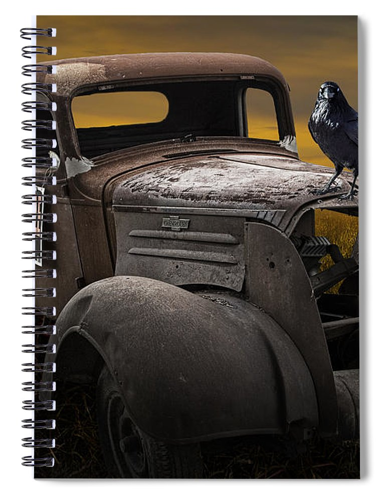 Vintage Spiral Notebook featuring the photograph Raven Hood Ornament On Old Vintage Chevy Pickup Truck by Randall Nyhof