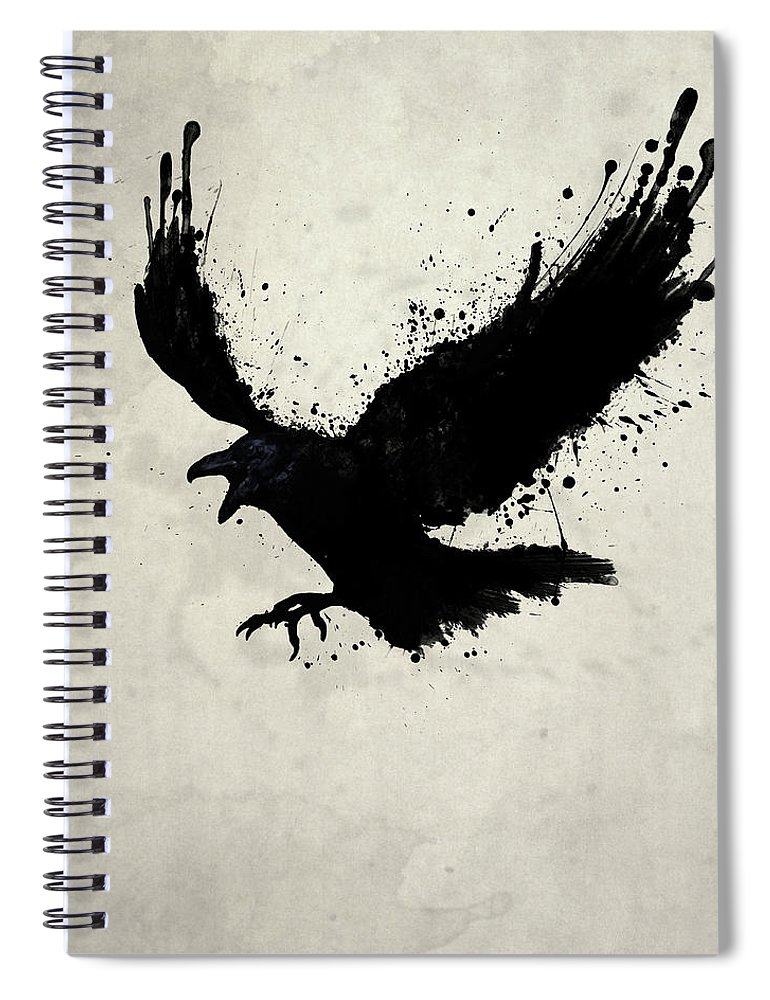 Raven Spiral Notebook featuring the digital art Raven by Nicklas Gustafsson