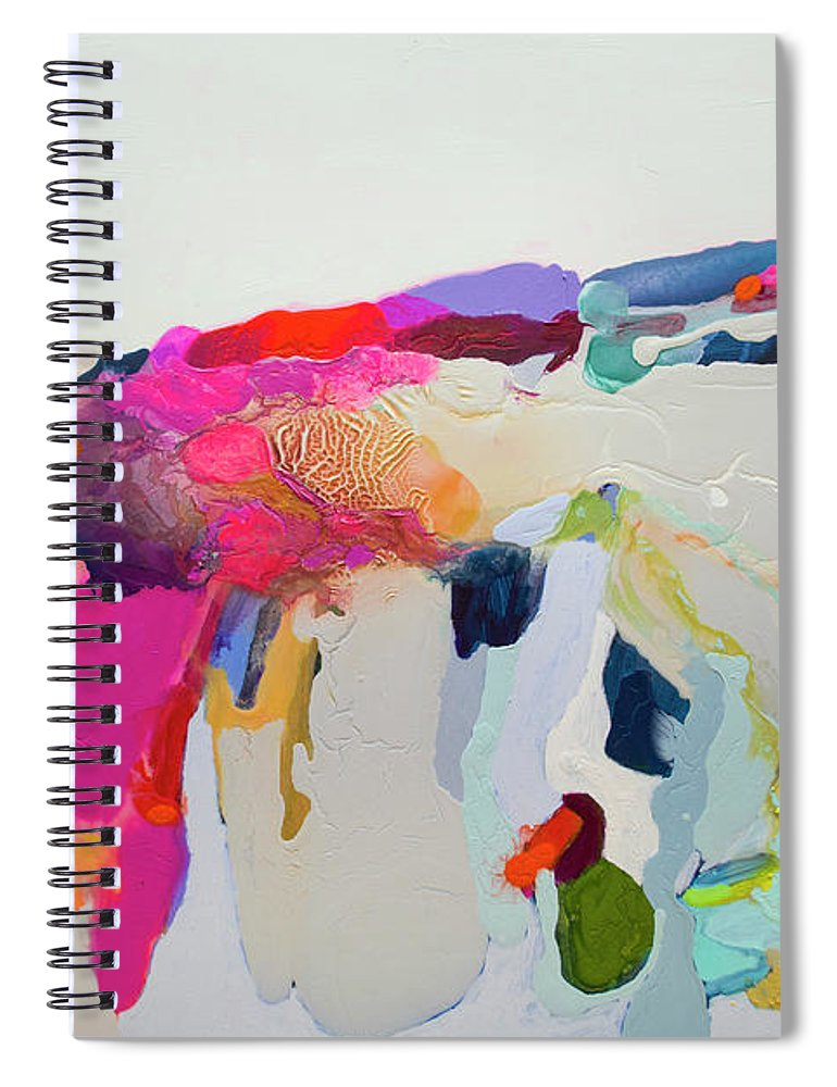 Abstract Spiral Notebook featuring the painting Reach In Reach Out by Claire Desjardins