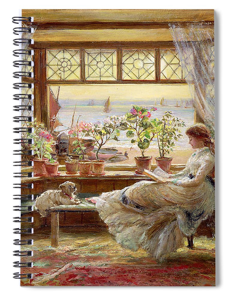 Dog Spiral Notebook featuring the painting Reading By The Window by Charles James Lewis