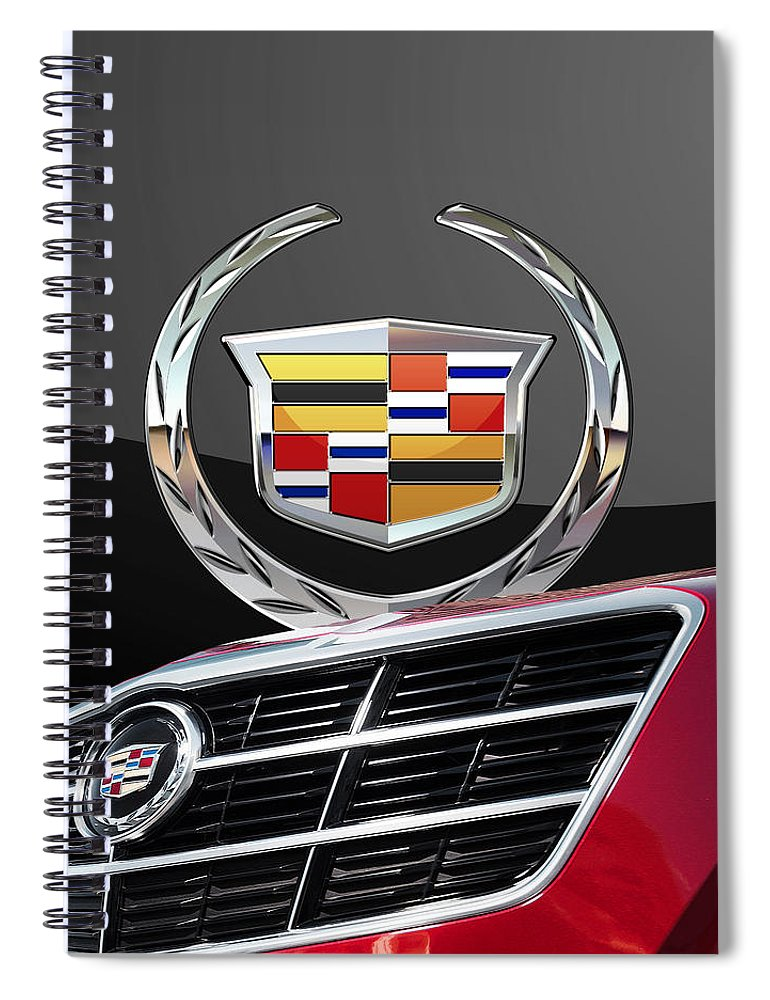 'auto Badges' By Serge Averbukh Spiral Notebook featuring the photograph Red Cadillac C T S - Front Grill Ornament and 3D Badge on Black by Serge Averbukh
