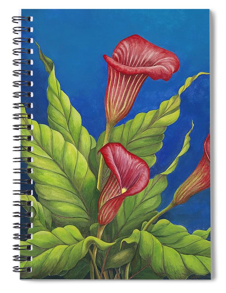 Red Calla Lillies On Blue Background Spiral Notebook featuring the painting Red Calla Lillies by Carol Sabo