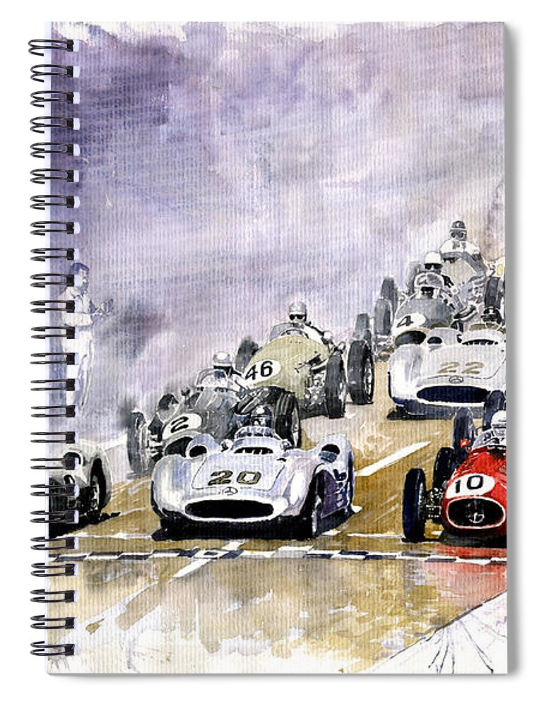 Watercolour Spiral Notebook featuring the painting 1954 Red Car Maserati 250 France Gp by Yuriy Shevchuk