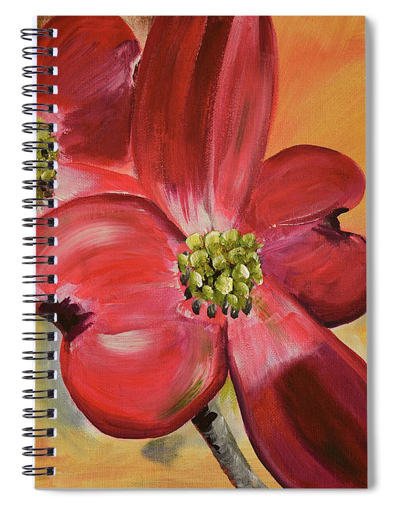 Cherokee Dogwood Spiral Notebook featuring the painting Red Dogwood - Canvas Wine Art by Jan Dappen