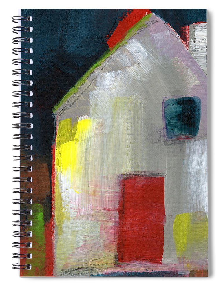 House Spiral Notebook featuring the painting Red Door- Art By Linda Woods by Linda Woods
