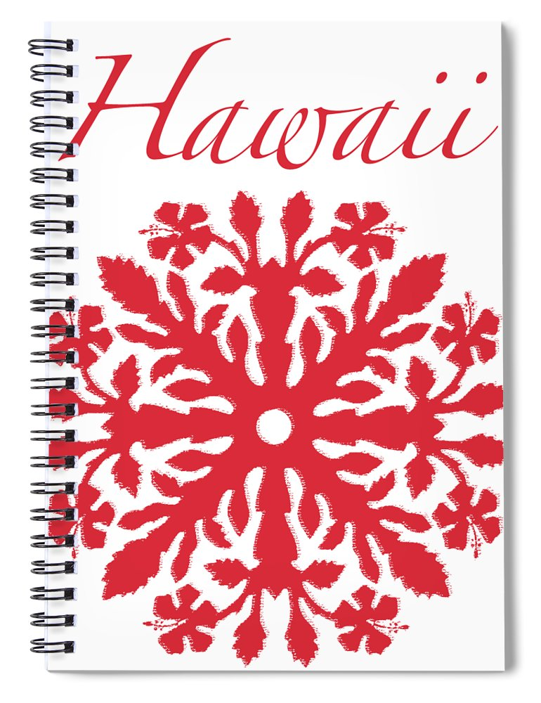 Hawaii T-shirt Spiral Notebook featuring the digital art Hawaii Red Hibiscus Quilt by James Temple