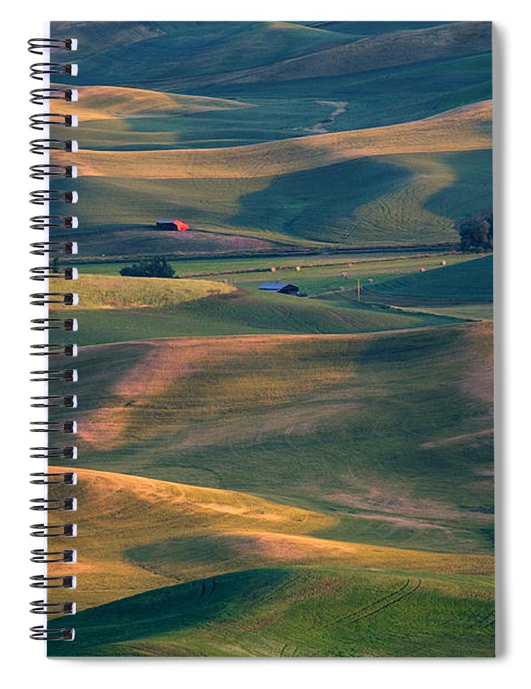 Barn Spiral Notebook featuring the photograph Red In A Sea Of Green by Mike Dawson