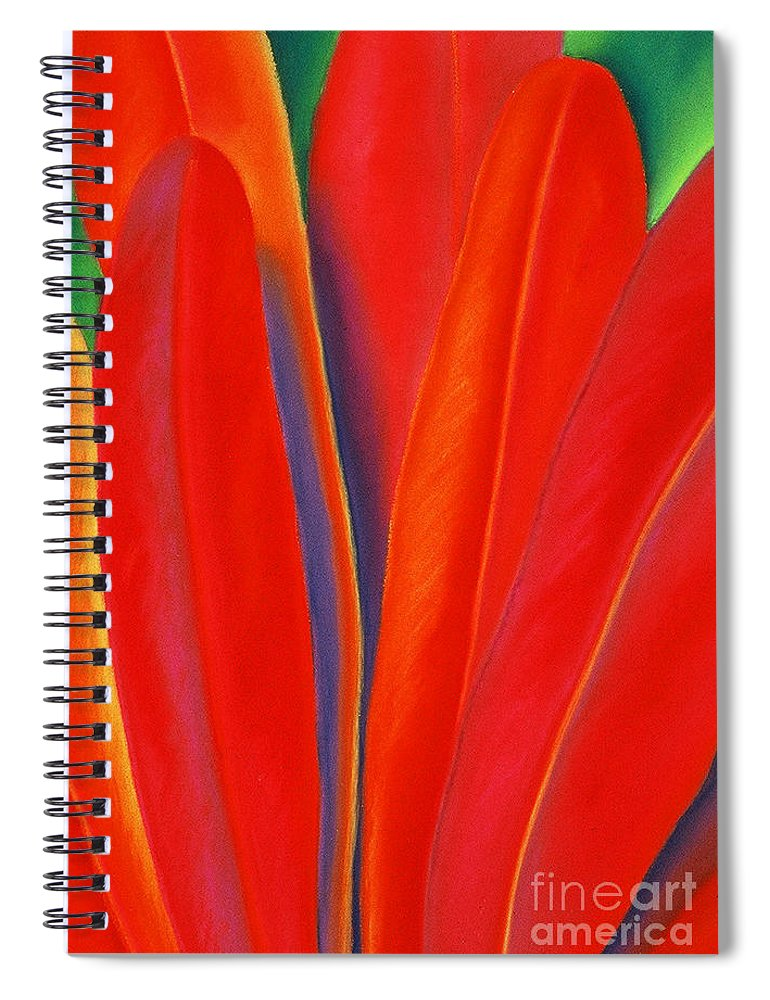 Red Spiral Notebook featuring the painting Red Petals by Lucy Arnold
