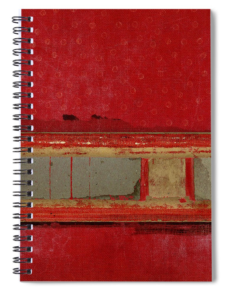 Red Spiral Notebook featuring the mixed media Red Riley Collage Square 1 by Carol Leigh