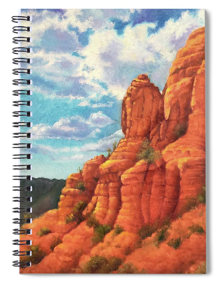 Sedona Spiral Notebook featuring the painting Red Rocks by Teri Rosario
