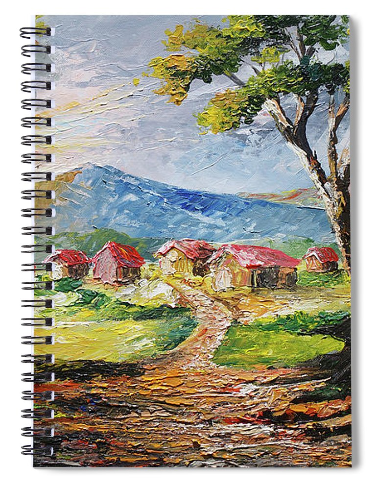 House Spiral Notebook featuring the painting Red Roofs by Anthony Mwangi