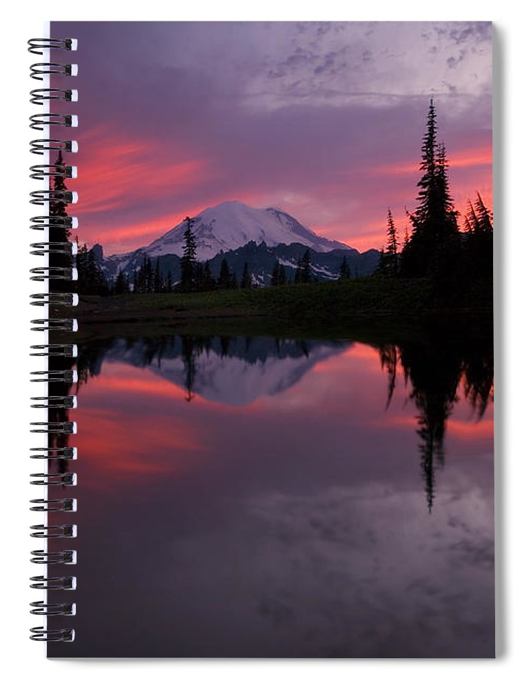 Rainier Spiral Notebook featuring the photograph Red Sky At Night by Mike Dawson