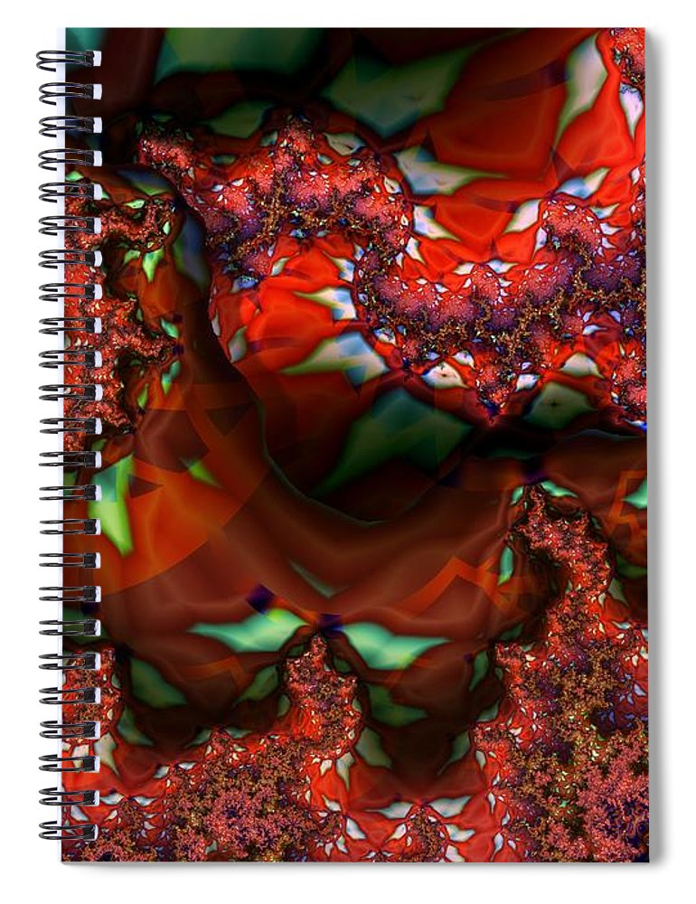 Berry Spiral Notebook featuring the digital art Red Thread by Ron Bissett