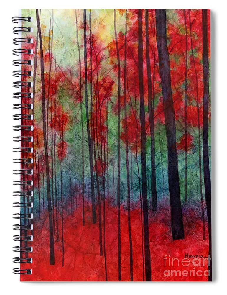 Red Spiral Notebook featuring the painting Red Velvet by Hailey E Herrera