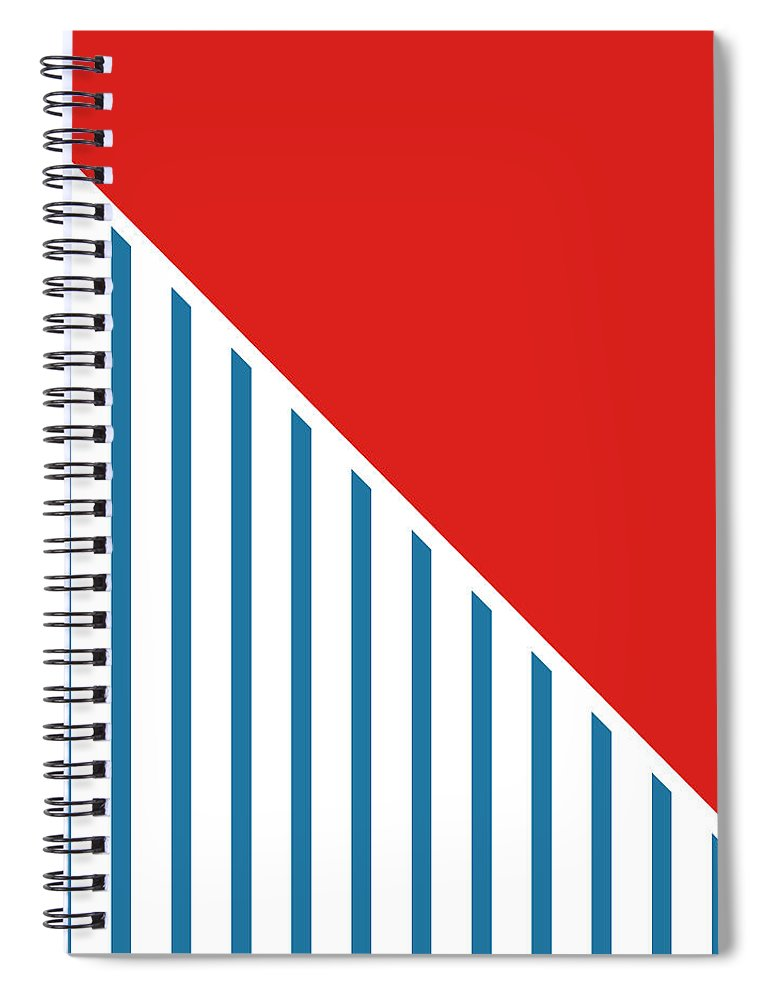 Red Spiral Notebook featuring the digital art Red White And Blue Triangles 2 by Linda Woods