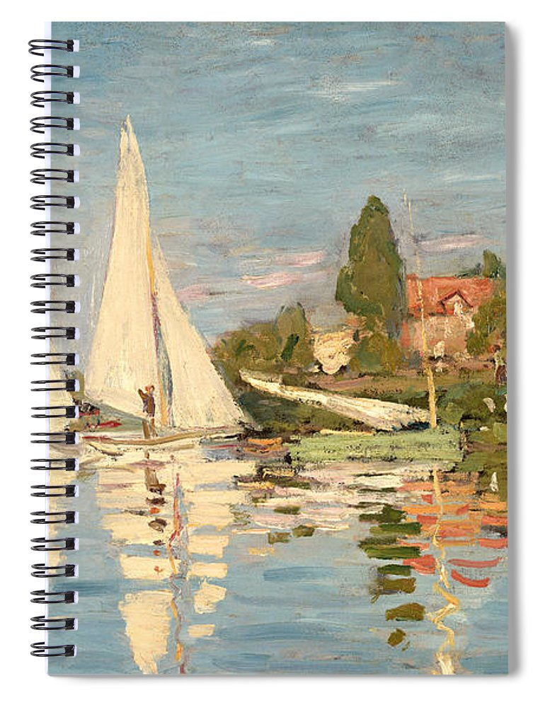 Regatta Spiral Notebook featuring the painting Regatta At Argenteuil by Claude Monet