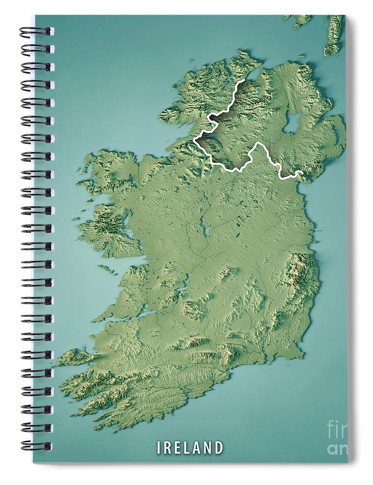 Map Of Ireland 3d.Republic Of Ireland Country 3d Render Topographic Map Border Spiral Notebook