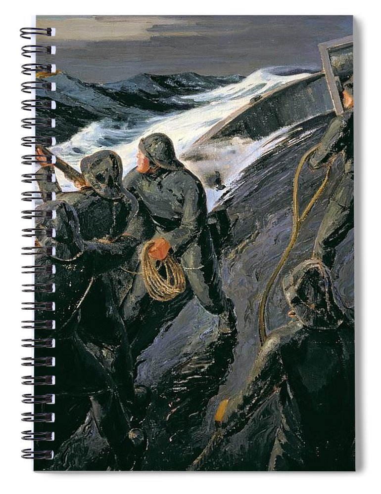 Rescue - Firing A Costen Gun Line (oil On Canvas) By Thomas Harold Beament (1898-1985) Spiral Notebook featuring the painting Rescue by Thomas Harold Beament