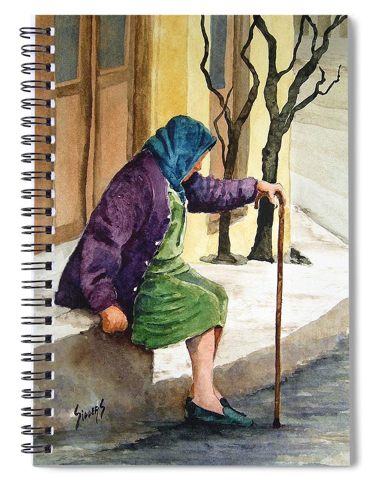 Old Lady Spiral Notebook featuring the painting Resting by Sam Sidders