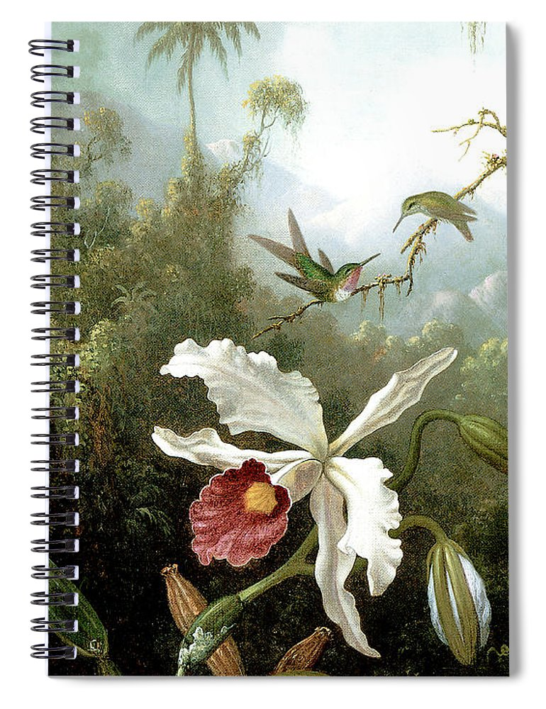 Masters Spiral Notebook featuring the painting Retouched Masters - Orchid And Hummingbirds In Tropical Forest by Audrey Jeanne Roberts