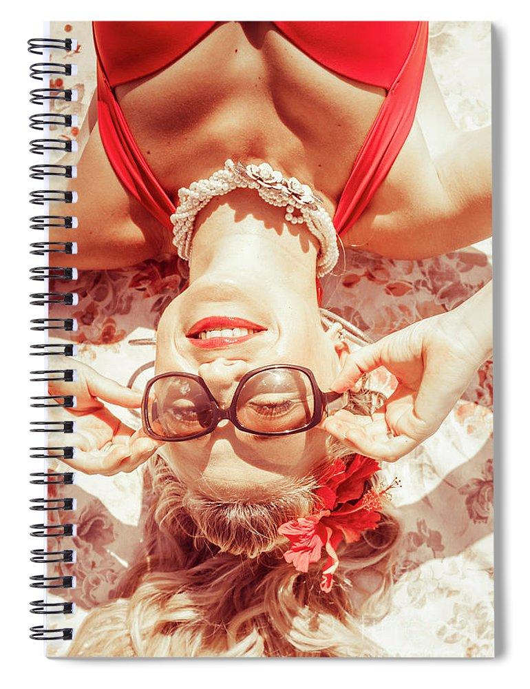 Beach Spiral Notebook featuring the photograph Retro 50s Beach Pinup Girl by Jorgo Photography - Wall Art Gallery