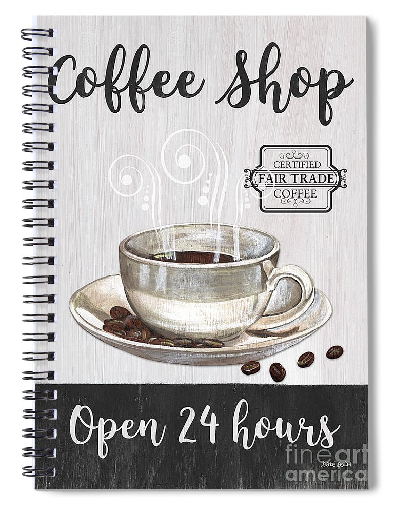 Coffee Spiral Notebook featuring the painting Retro Coffee Shop 1 by Debbie DeWitt