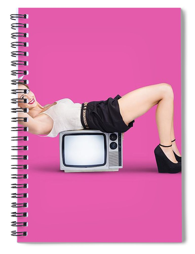 Pink Spiral Notebook featuring the photograph Retro Housewife by Jorgo Photography - Wall Art Gallery