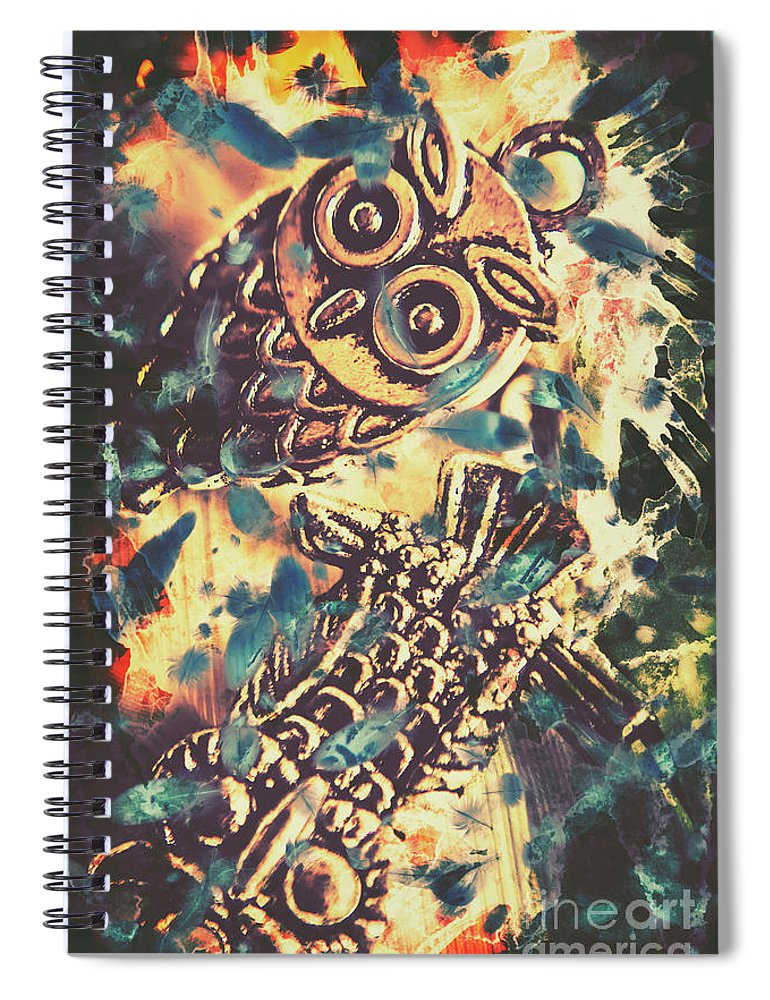 Owl Spiral Notebook featuring the photograph Retro Pop Art Owls Under Floating Feathers by Jorgo Photography - Wall Art Gallery