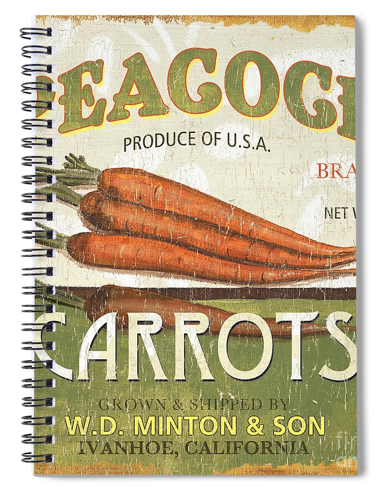 Food Spiral Notebook featuring the painting Retro Veggie Label 2 by Debbie DeWitt