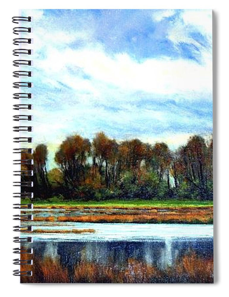 Landscapes Spiral Notebook featuring the painting Ridgefield Refuge Early Fall by Jim Gola