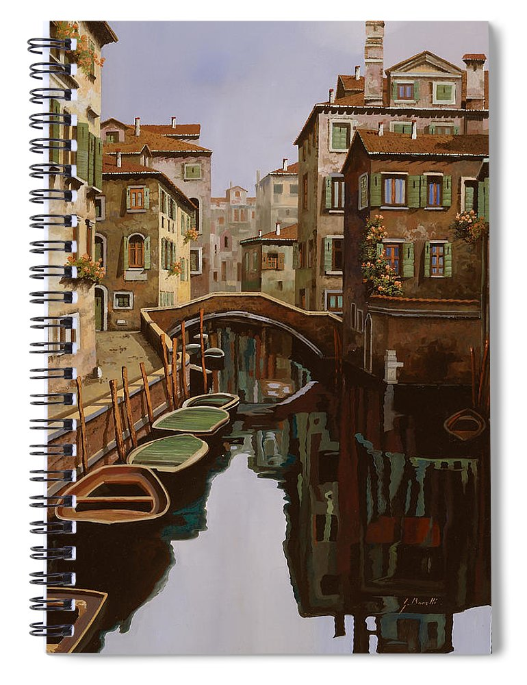 Venice Spiral Notebook featuring the painting Riflesso Scuro by Guido Borelli