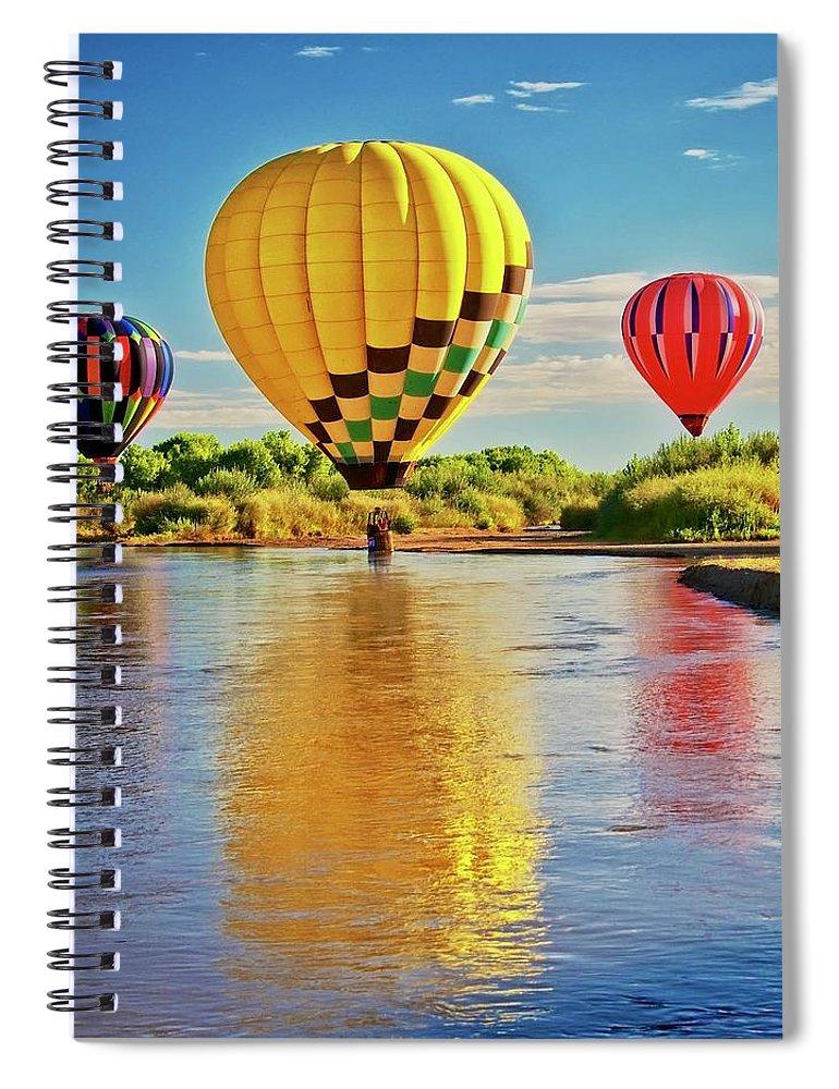 Fine Art Photography Spiral Notebook featuring the photograph Rio Grande balloon Reflection, Albuquerque, NM by Zayne Diamond Photographic
