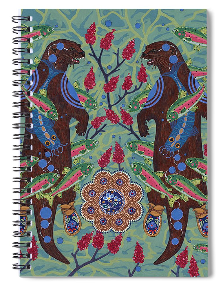 Native American Spiral Notebook featuring the painting River Spirit by Chholing Taha