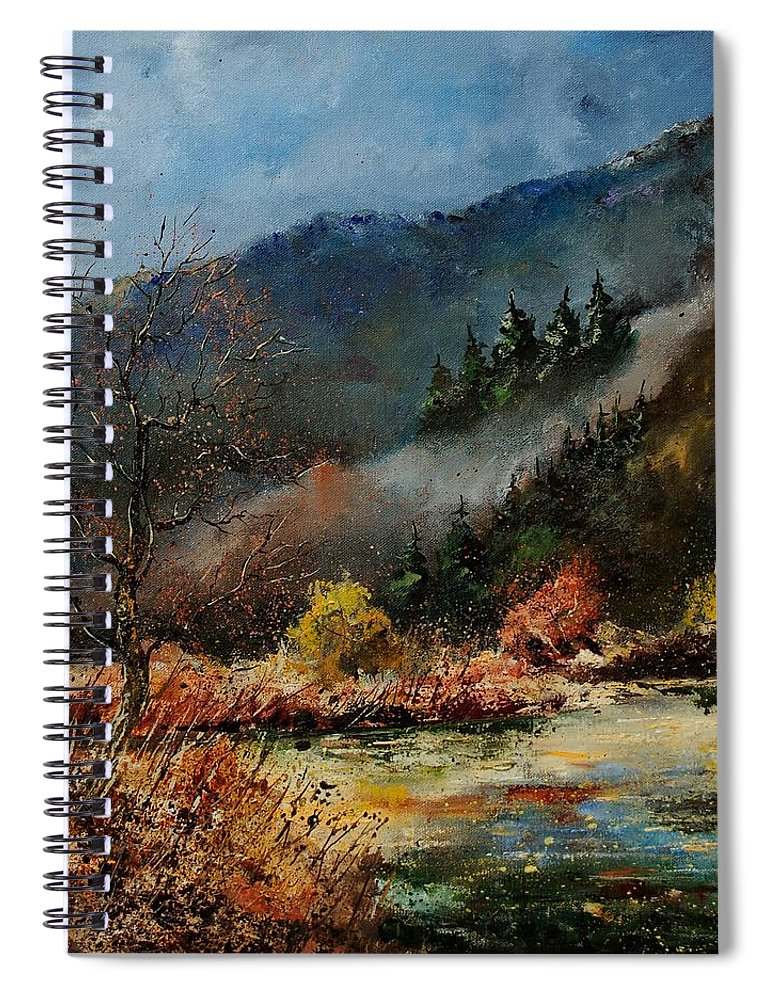 River Spiral Notebook featuring the painting River Semois by Pol Ledent