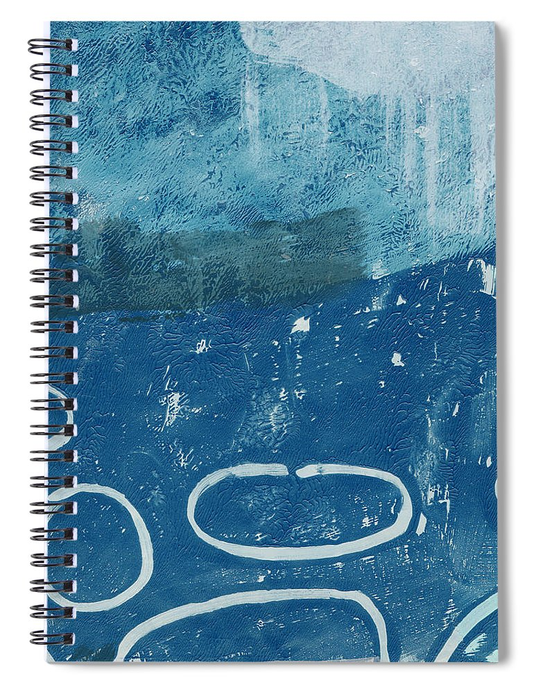 Abstract Spiral Notebook featuring the painting River Walk 3- Art By Linda Woods by Linda Woods