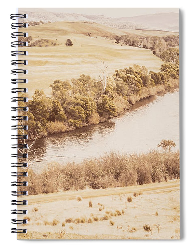 Vintage Spiral Notebook featuring the photograph Rivers Of Pastoral Wash by Jorgo Photography - Wall Art Gallery