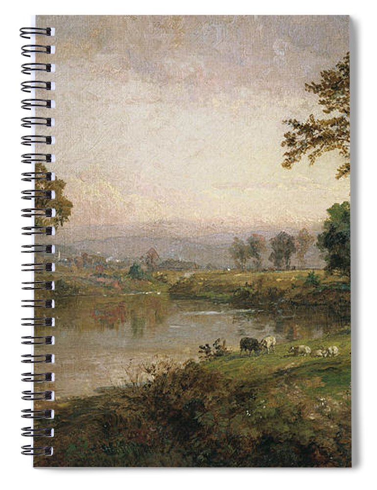 Riverscape - Early Autumn Spiral Notebook featuring the painting Riverscape In Early Autumn by Jasper Francis Cropsey