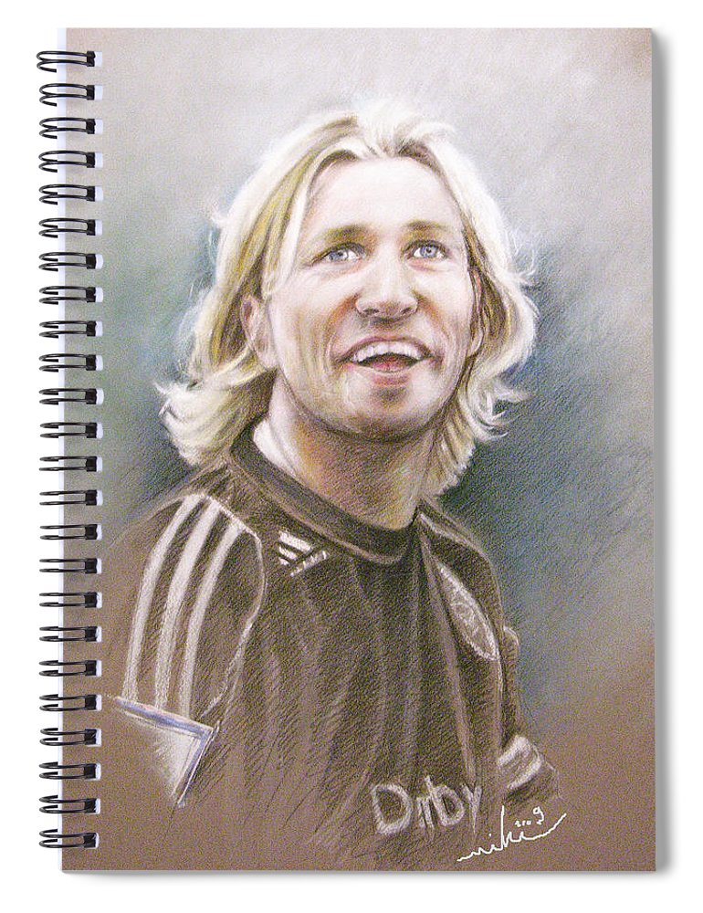 Pastel Portrait Spiral Notebook featuring the painting Robbie Savage by Miki De Goodaboom