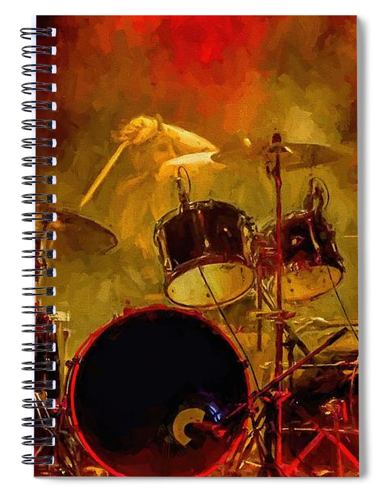 Rock And Roll Drum Solo # Rock And Roll # Drum Set # Rock And Roll Drum Paintings # Abstract Music Art # Zildjian # Drum Solo Painting # Concert # Smoke # Fog # Spiral Notebook featuring the digital art Rock And Roll Drum Solo by Louis Ferreira