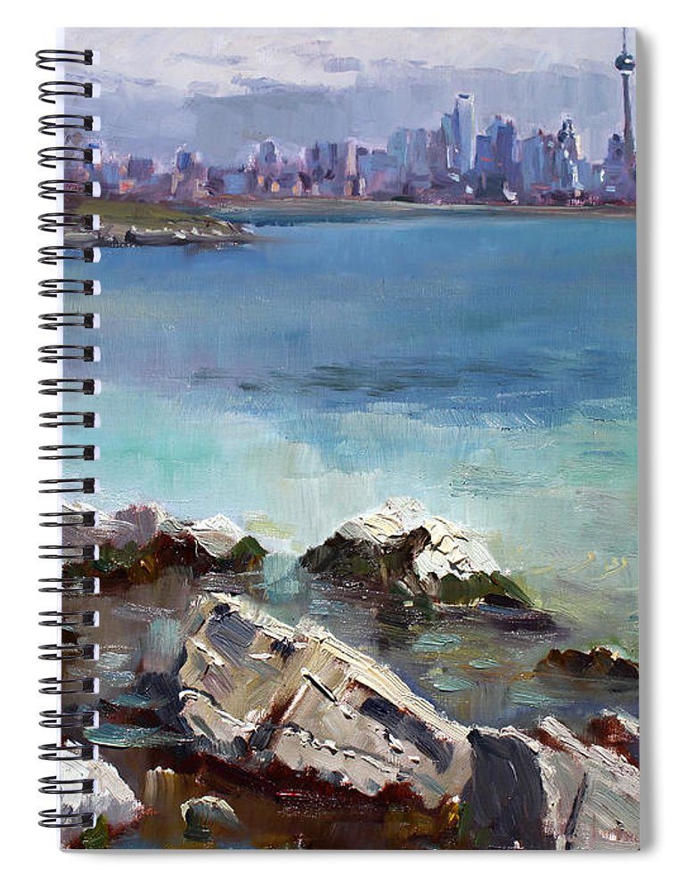 Toronto Spiral Notebook featuring the painting Rocks N' The City by Ylli Haruni