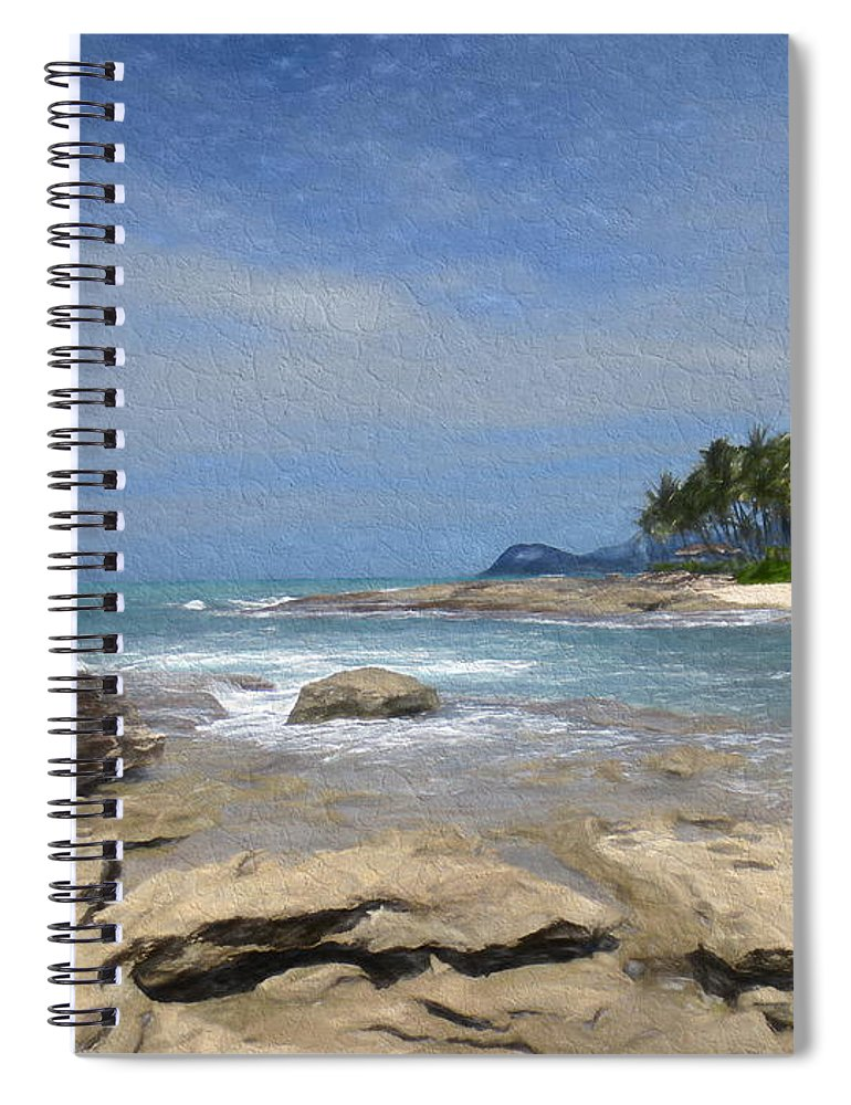 Rocks Spiral Notebook featuring the digital art Rocks Trees And Ocean by Steven Parker