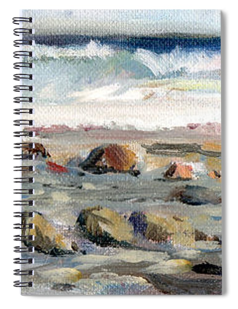 Visco Spiral Notebook featuring the painting Rocky Seashore by P Anthony Visco