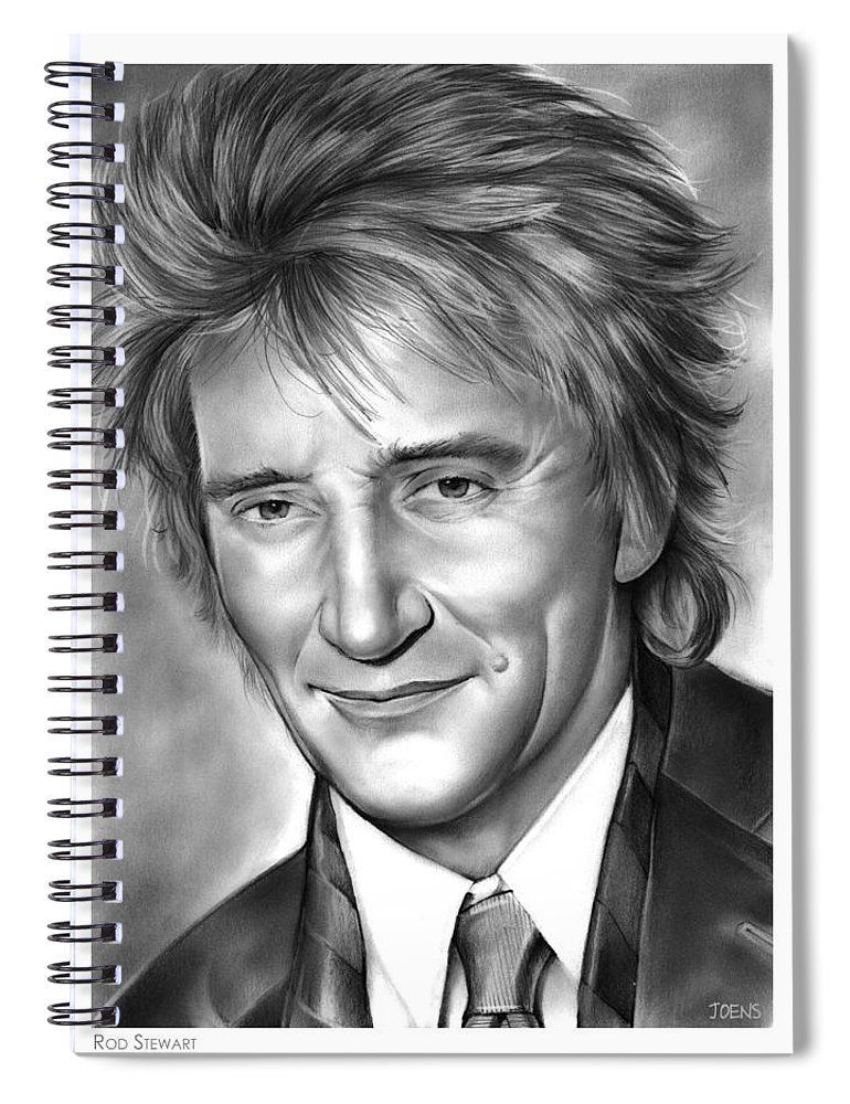 Rod Stewart Spiral Notebook featuring the drawing Rod Stewart by Greg Joens