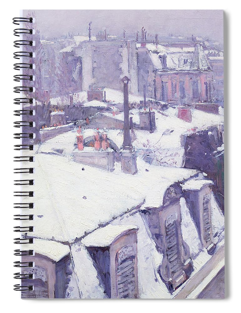 Snow Spiral Notebook featuring the painting Roofs Under Snow by Gustave Caillebotte