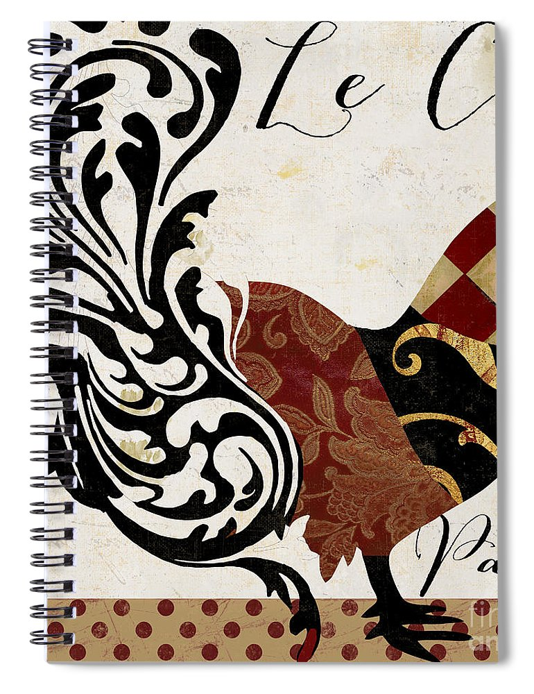 Roosters Spiral Notebook featuring the painting Roosters Of Paris II by Mindy Sommers