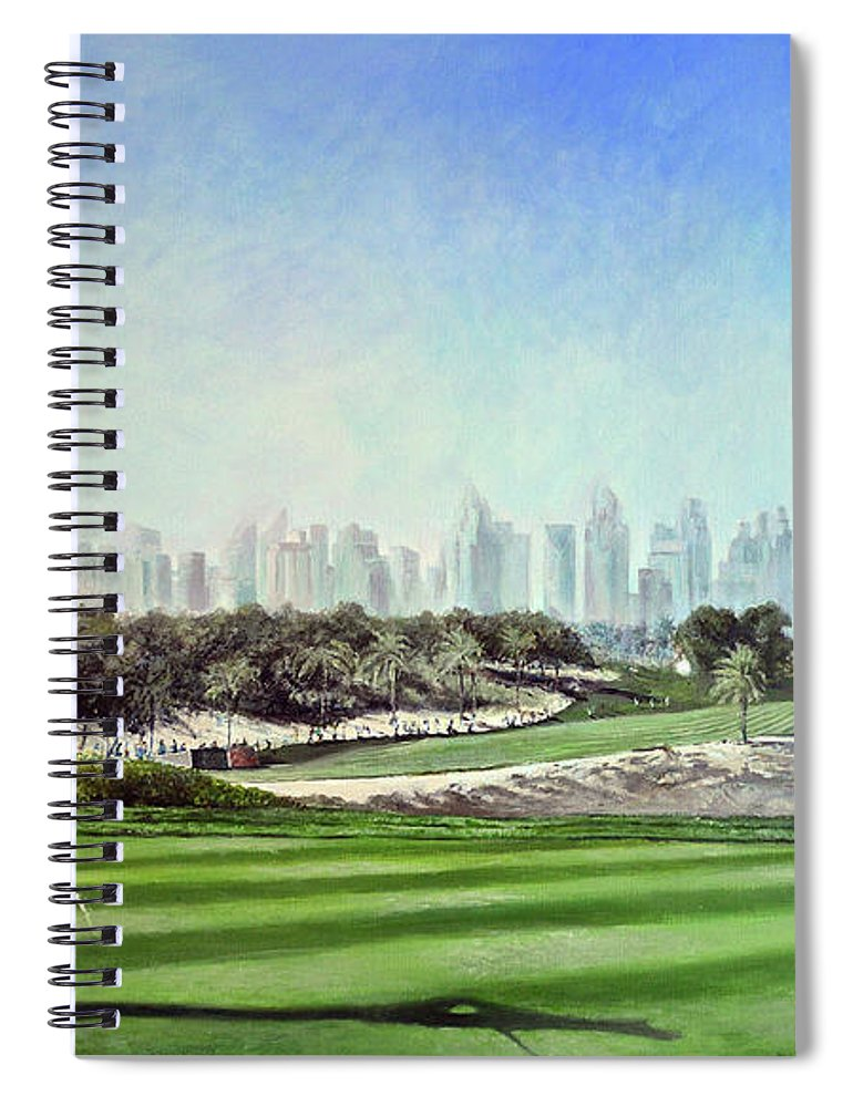 Rory Mcilroy Spiral Notebook featuring the painting Rory At Ddc Emirates Gc Dubai 8th 2014 by Mark Robinson