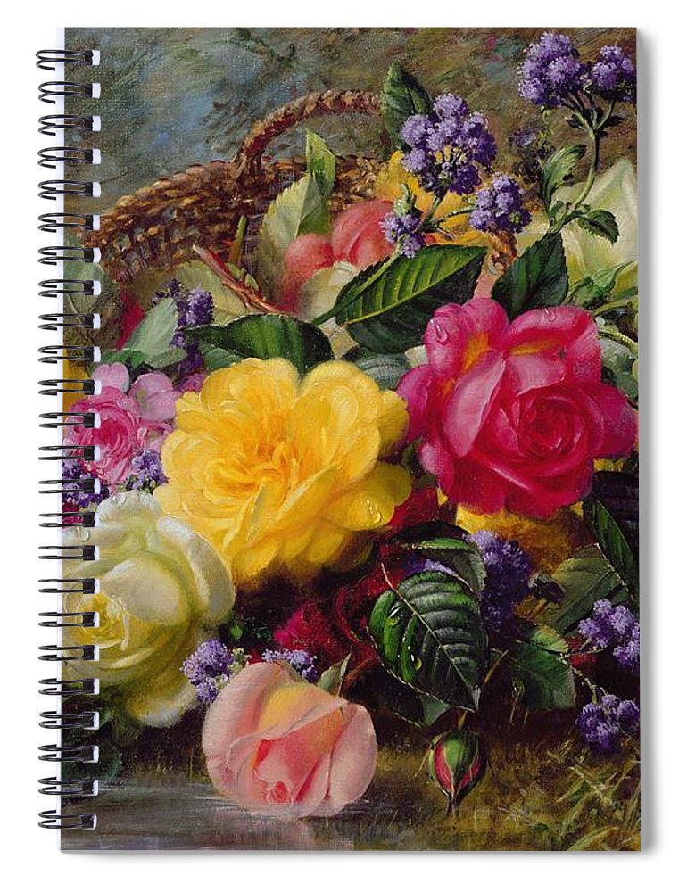Rose; Flower; Reflection; Flowers; Pink; Yellow; White; Roses; Basket; Water; Grass; Grassy; Grassy Bank; Pond Spiral Notebook featuring the painting Roses By A Pond On A Grassy Bank by Albert Williams
