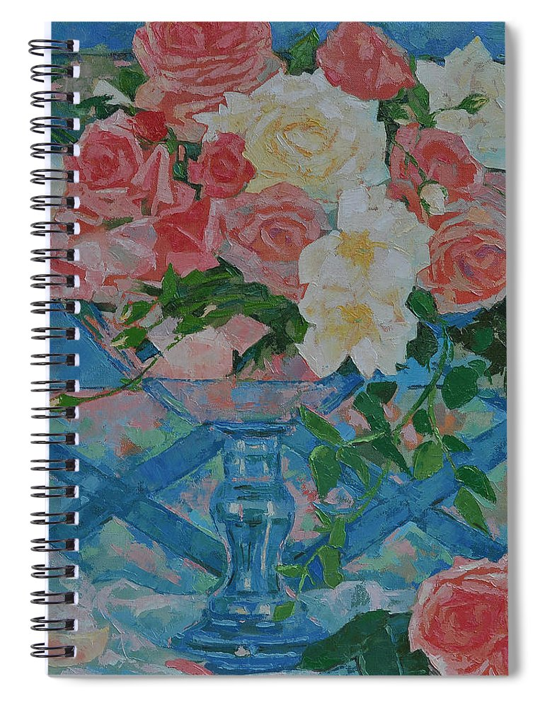 Roses Spiral Notebook featuring the painting Roses by Iliyan Bozhanov