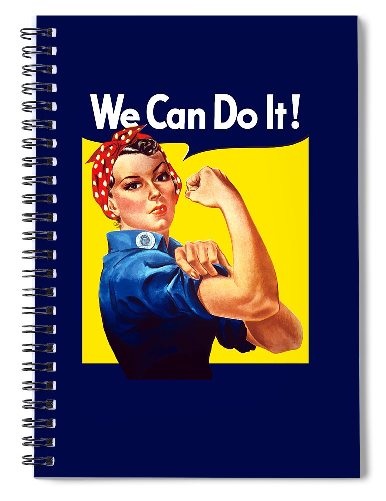 Rosie The Riveter Spiral Notebook featuring the painting Rosie The Rivetor by War Is Hell Store